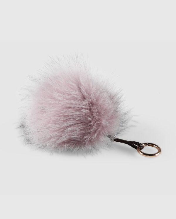 Llavero pompón rosa claro de pelo de zorro para mujer marca Swarz