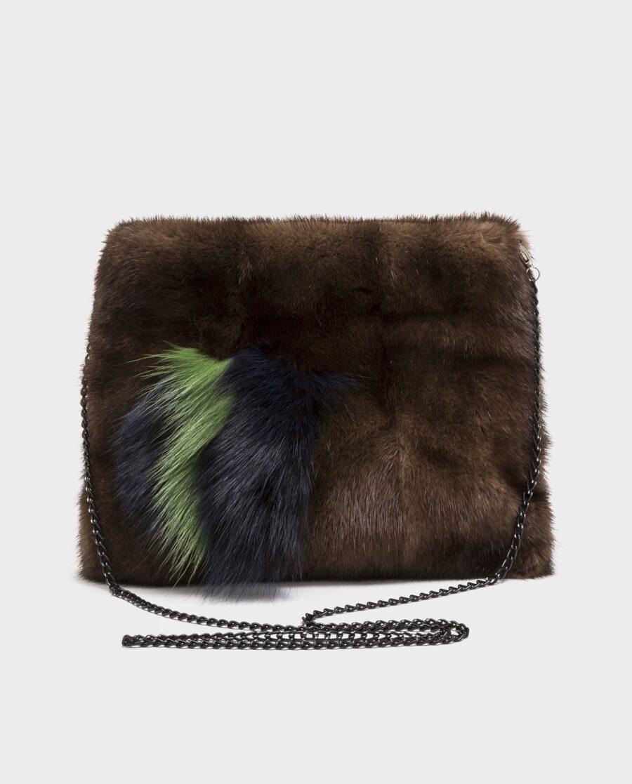 Bolso de visón marrón para mujer marca Swarz