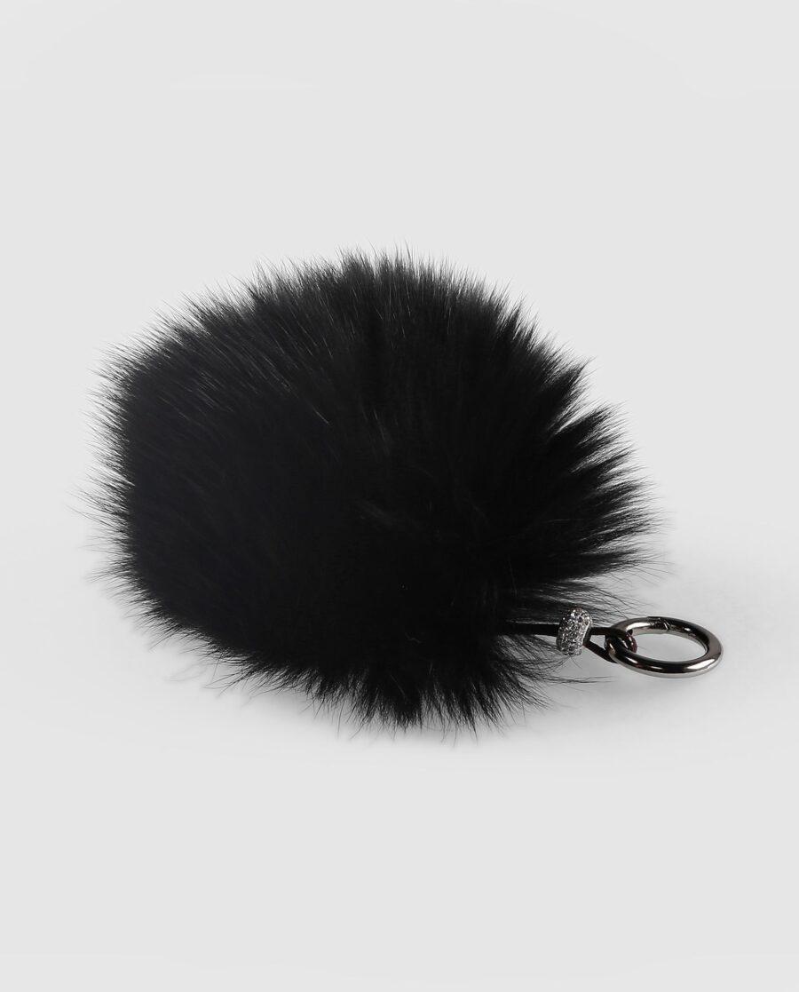 Llavero pompón negro de pelo de zorro para mujer marca Swarz