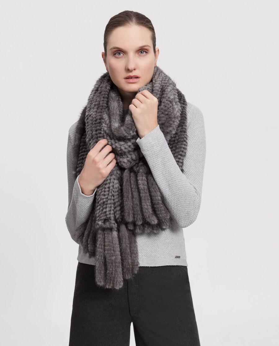Estola de visón griscon pelo tricotado marca Saint Germain