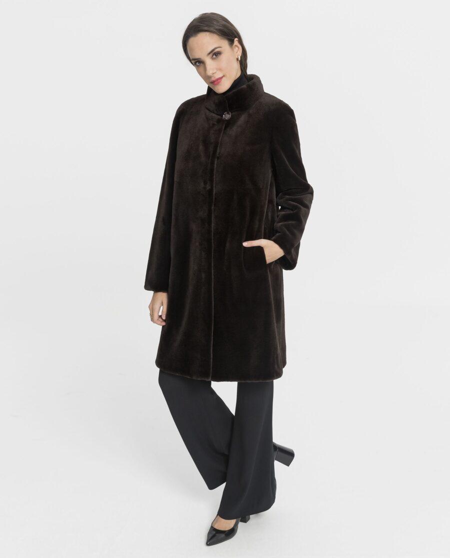 Abrigo de mujer Saint Germain de visón rasado marrón