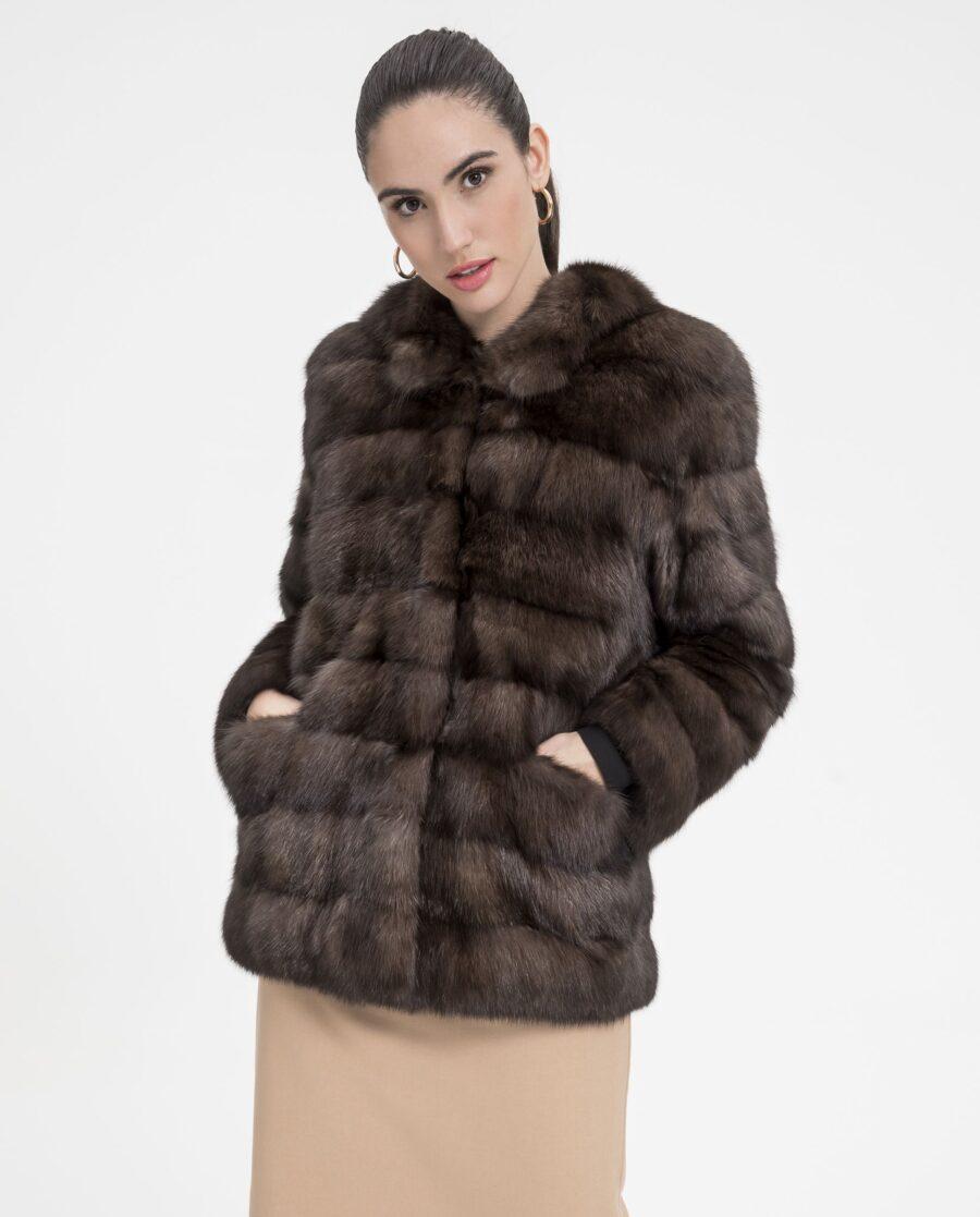 Chaqueta de martas rusas en color natural para mujer