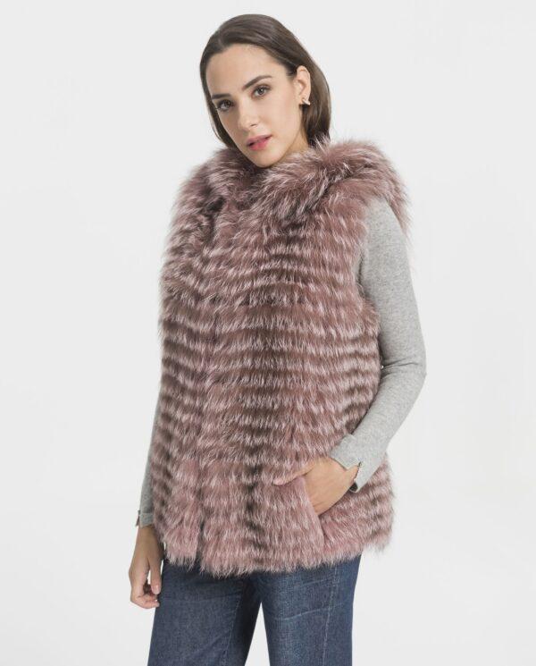 Chaleco largo de pelo de zorro para mujer de color rosa marca Marcelo Rinaldi