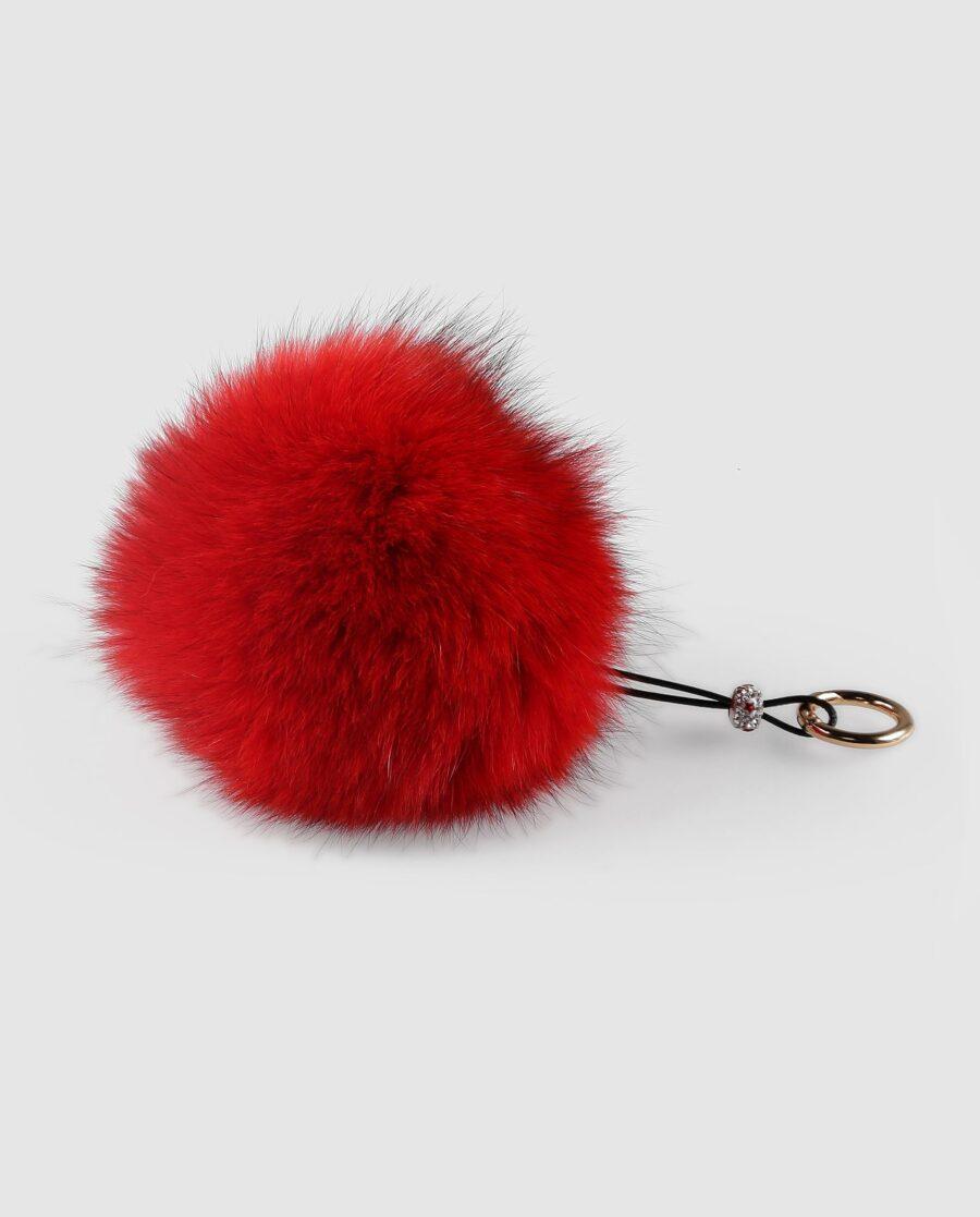 Llavero pompón rojo de pelo de zorro para mujer marca Swarz