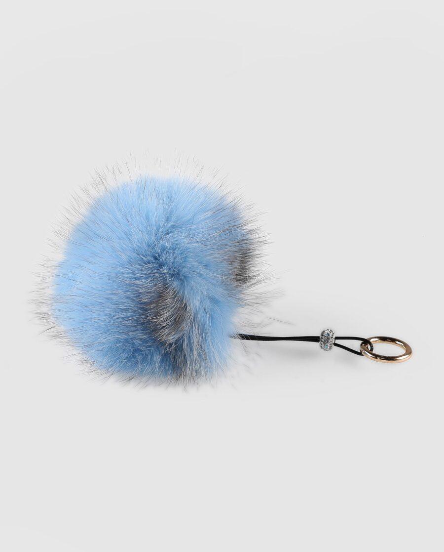Llavero pompón azul claro de pelo de zorro para mujer marca Swarz