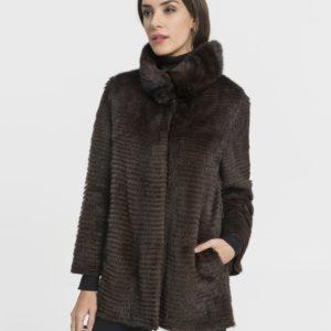 Abrigo de mujer De la Roca Saga de visón tireado color marrón