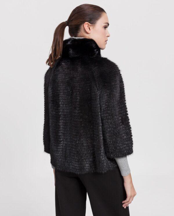 Chaqueta de visón negro reversible para mujer con lomos horizontales estilo liner marca Saint Germain