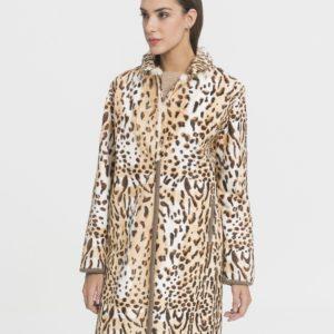 Abrigo de mujer De la Roca de piel kid reversible con estampado de leopardo