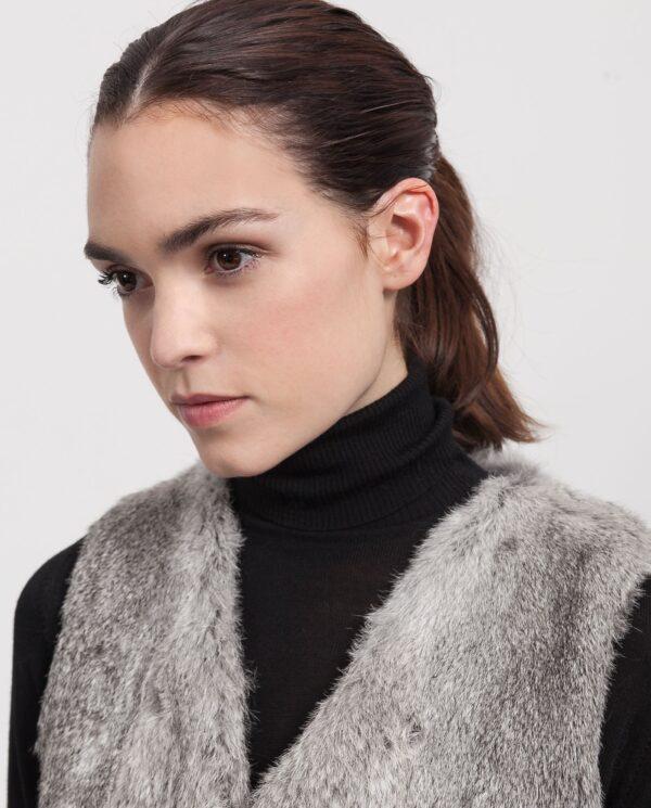 Chaleco de conejo rex gris para mujer marca Swarz
