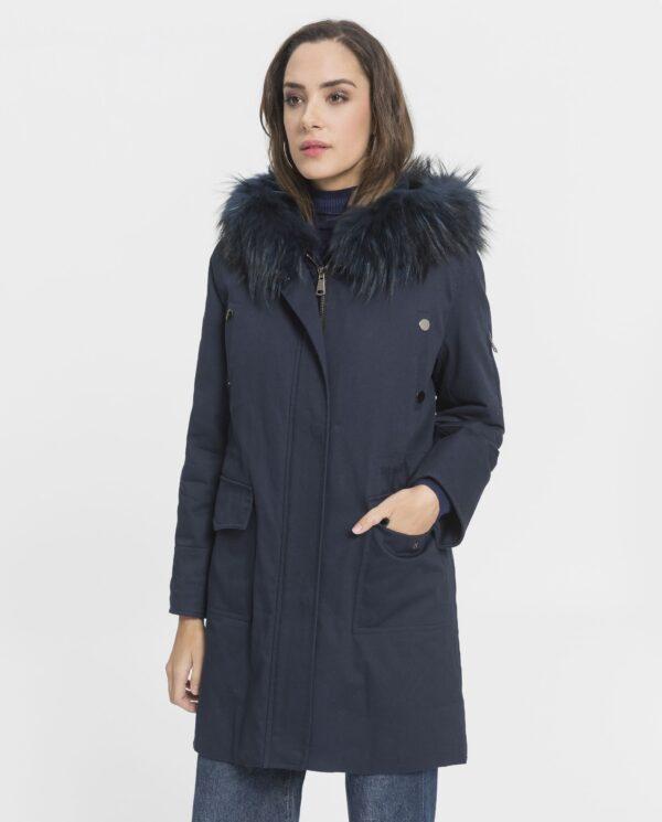 Parka azul con capucha de zorro para mujer