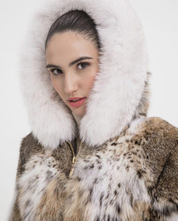 Chaqueta de lince natural con capucha marca De la Roca