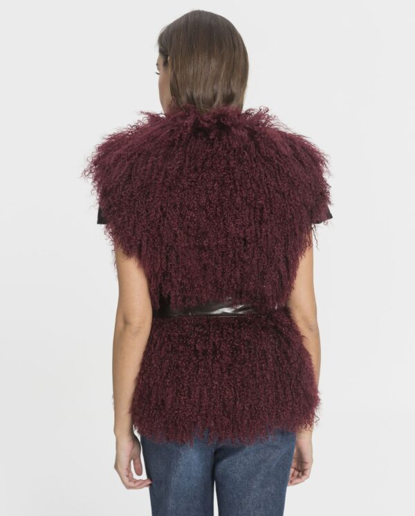 Chaleco de mujer De la Roca de lana de cordero de Mongolia burdeos