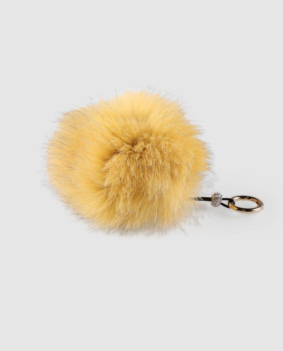 Llavero pompón amarillo de pelo de zorro para mujer marca Swarz