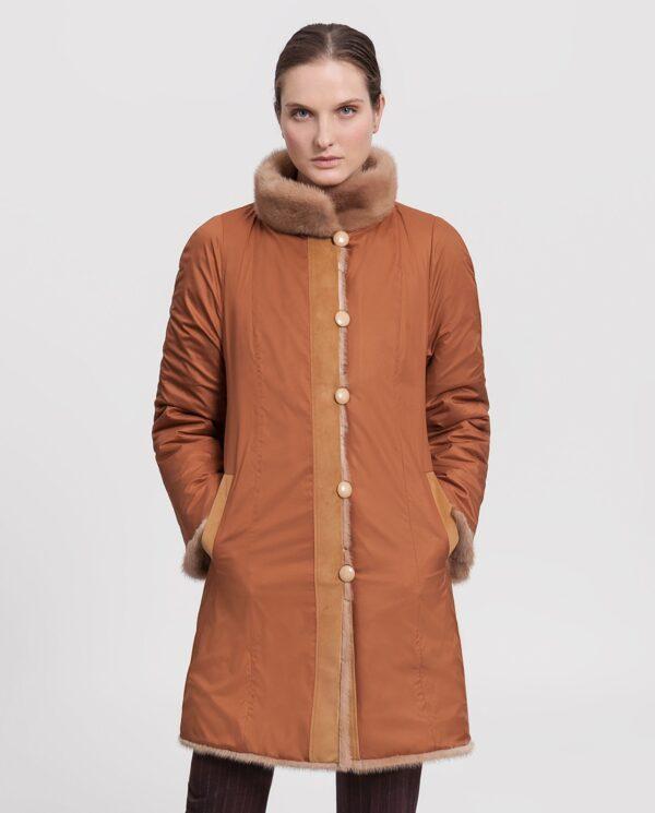 Abrigo de mujer Saint Germain de visón Saga camel reversible gabardina