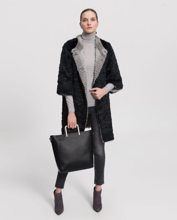 Abrigo de pelo de chinchilla negro para mujer marca De la Roca