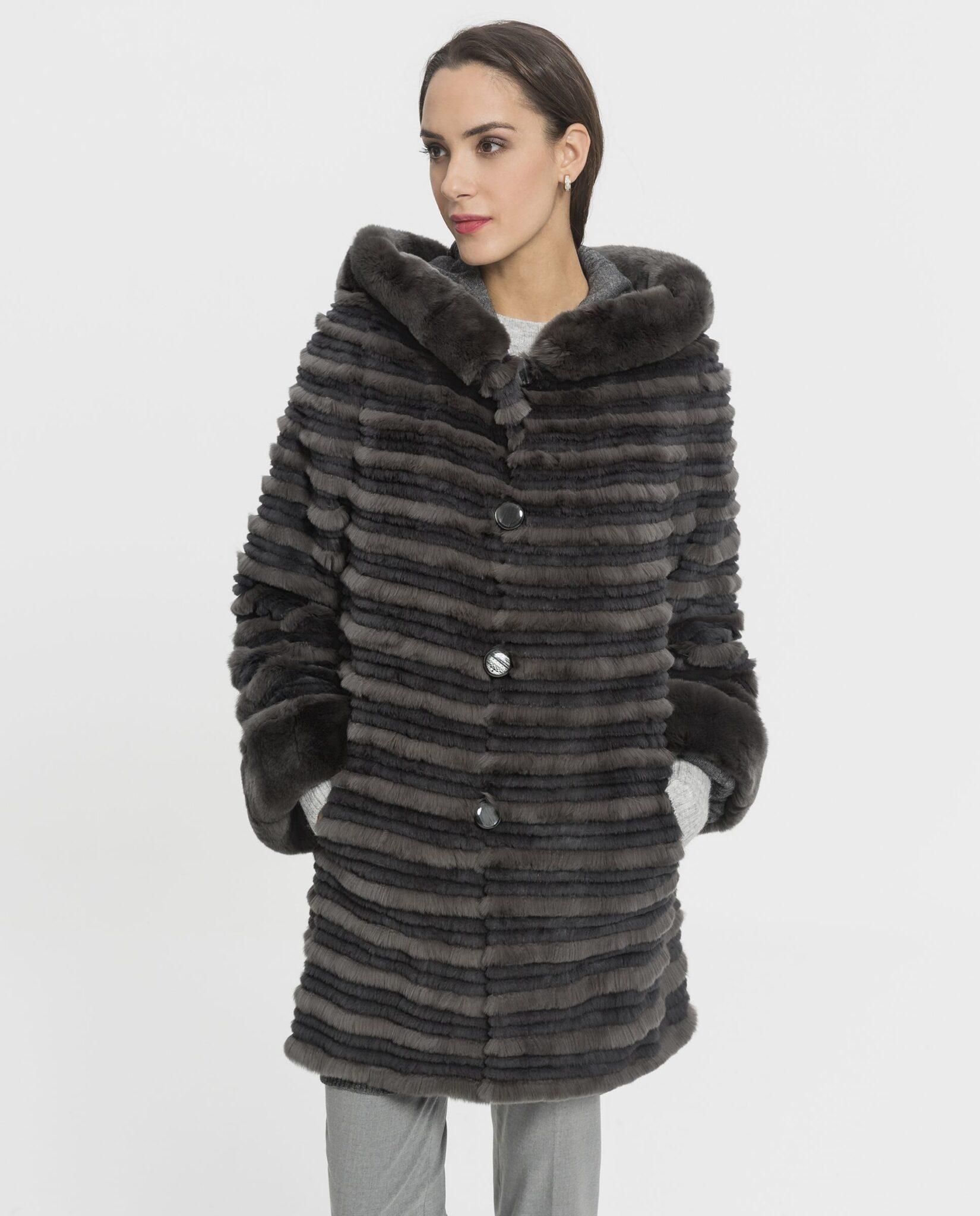 Abrigo de mujer De la Roca de rex reversible gris con capucha