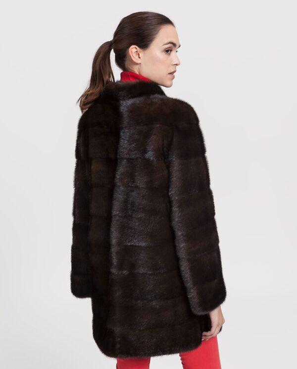 Abrigo de mujer Saint Germain Saga de visón marrón con cuello mao