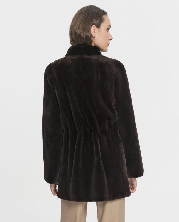 Chaqueta de visón rasado marrón para mujer marca Saint Germain