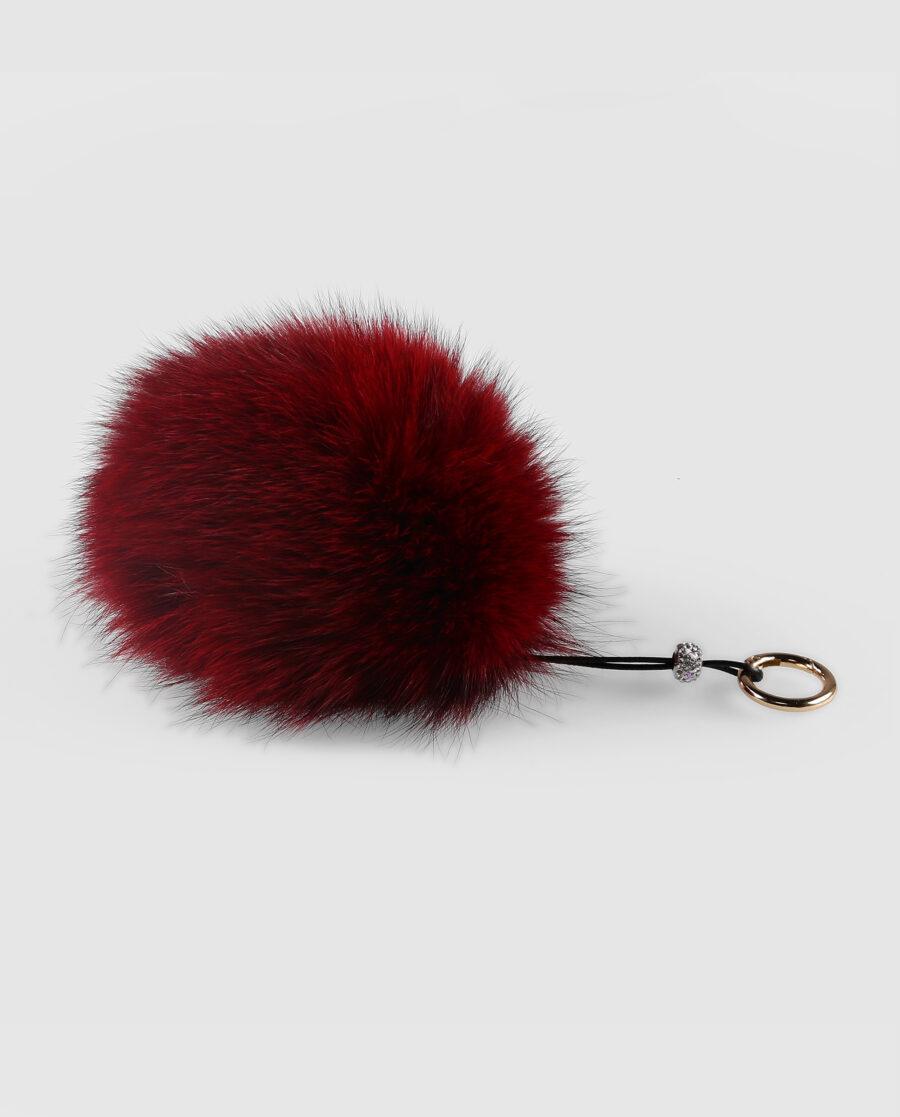 Llavero pompón granate de pelo de zorro para mujer marca Swarz