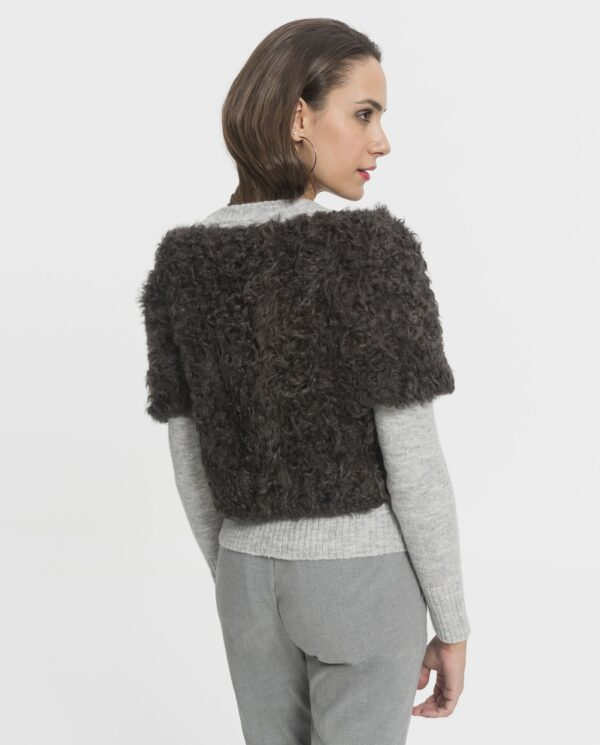 Chaleco de lana de cordero del Tibet gris para mujer marca De la Roca