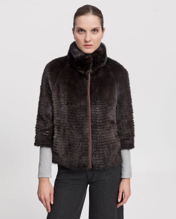 Chaqueta de visón marrón reversible para mujer con lomos horizontales estilo liner marca Saint Germain