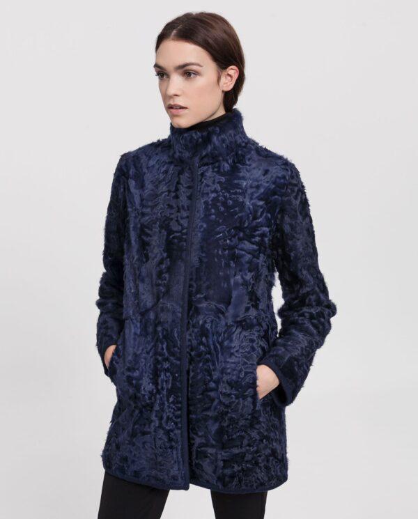 Abrigo azul oscuro de pelo de cordero xianggao reversible para mujer marca Saint Germain