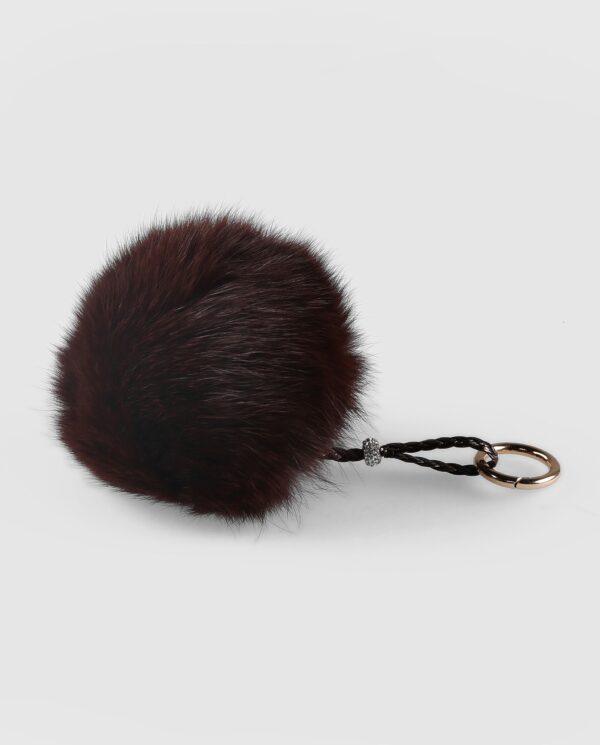 Llavero pompón marrón oscuro de pelo de zorro para mujer marca Swarz