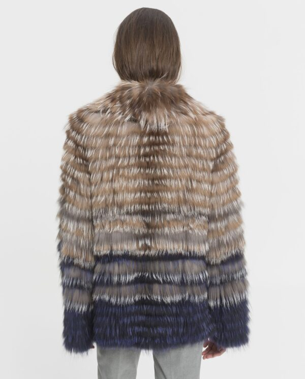 Chaquetón de zorro moderna y juvenil para mujer color cristal y azul multicolor marca Marcelo Rinaldi