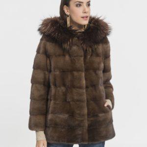 Abrigo de mujer De la Roca Saga de visón marrón con capucha