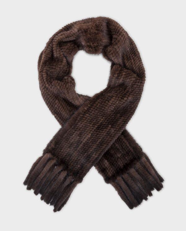 Estola de visón marróncon pelo tricotado marca Saint Germain
