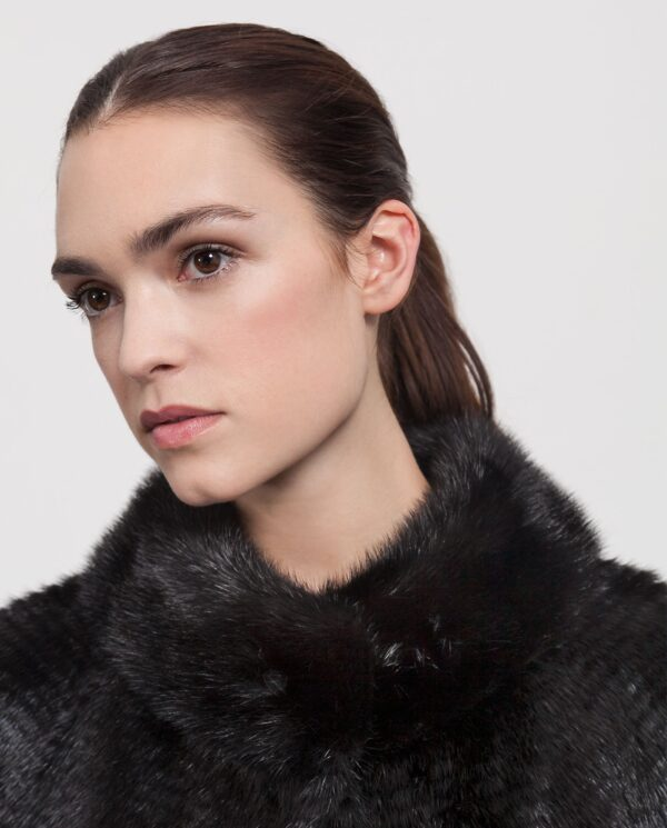 Abrigo de visón tireado negro con interior de lana reversible de mujer marca Saint Germain