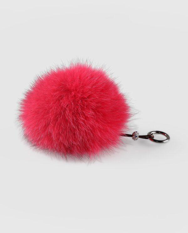 Llavero pompón rosa fucsia de pelo de zorro para mujer marca Swarz