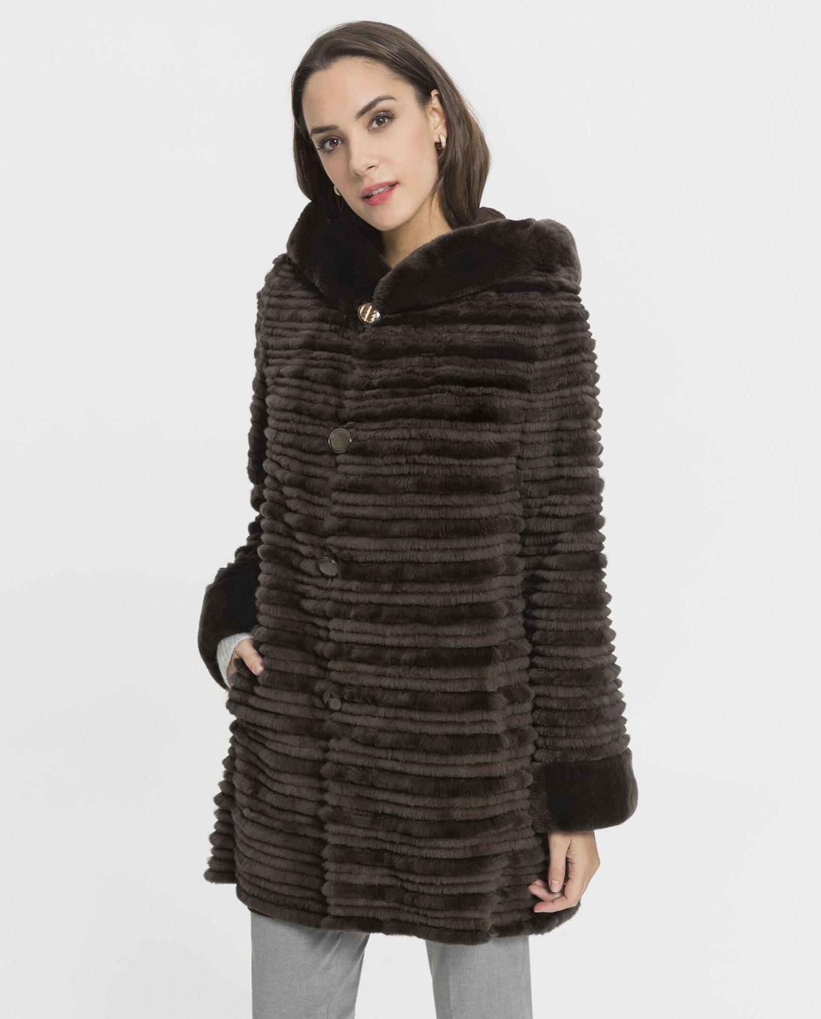 Abrigo de mujer De la Roca de rex reversible marrón con capucha