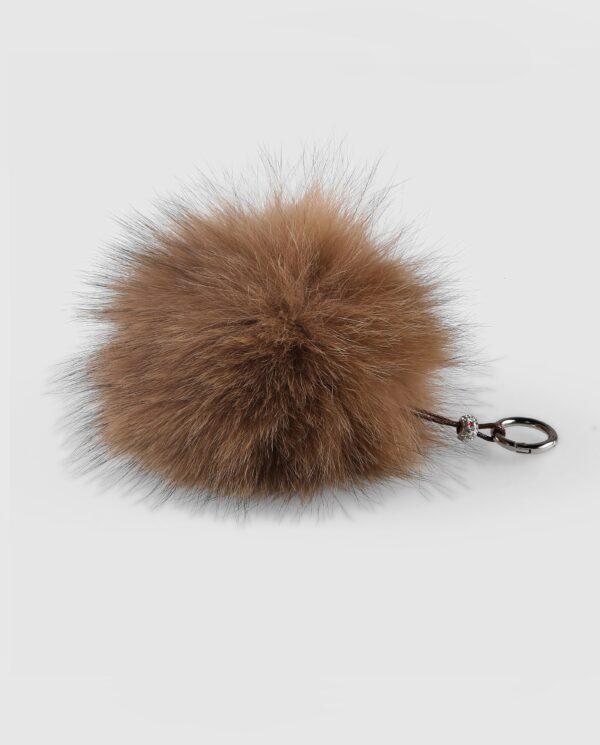Llavero pompón marrón claro de pelo de zorro para mujer marca Swarz