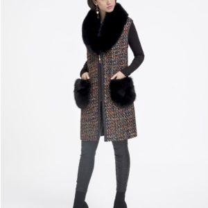 Chaleco de mujer De la Roca de textil con zorro de color negro