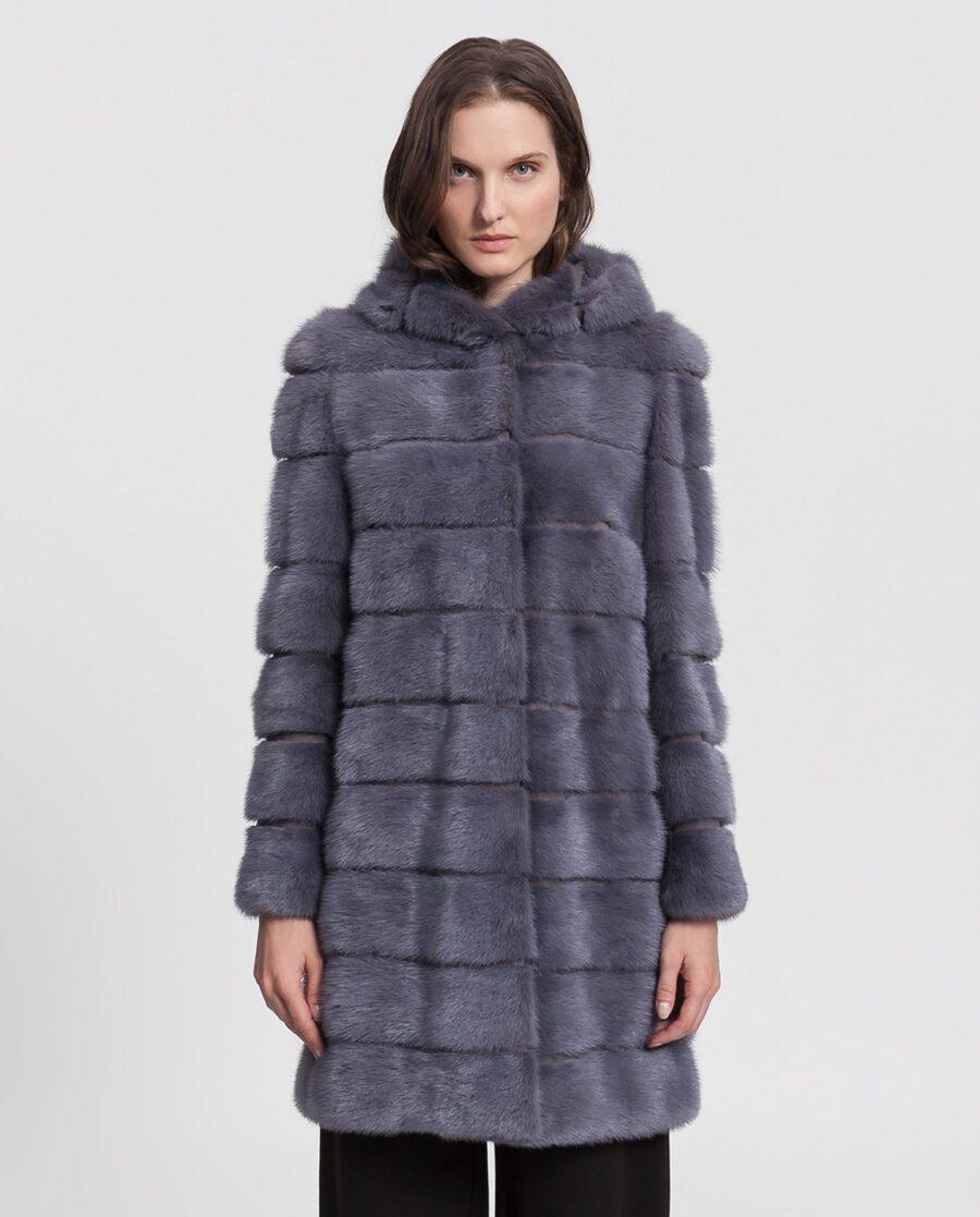 Abrigo de mujer Saint Germain de visón Saga azul plateado con capucha