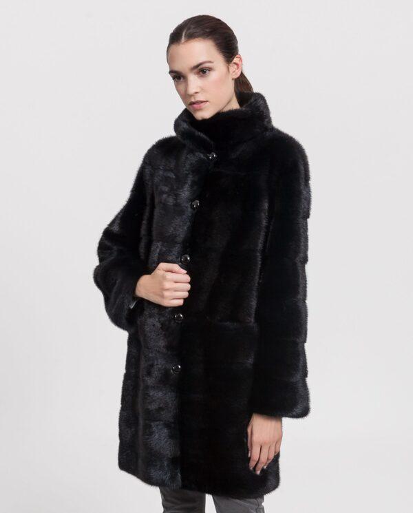 Abrigo de pelo de visón Saga Furs color negro reversible para mujer