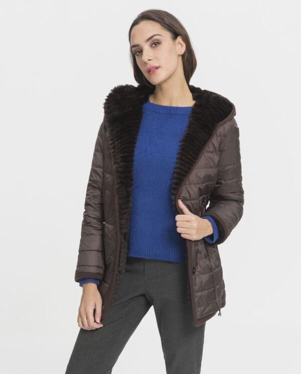 Abrigo de mujer Swarz de rex marrón reversible con capucha
