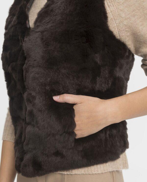 Chaleco de conejo rex marrón para mujer marca Swarz