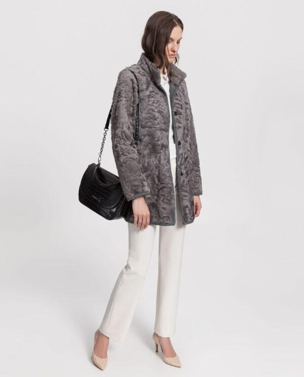Abrigo gris de pelo de cordero xianggao reversible para mujer marca Saint Germain
