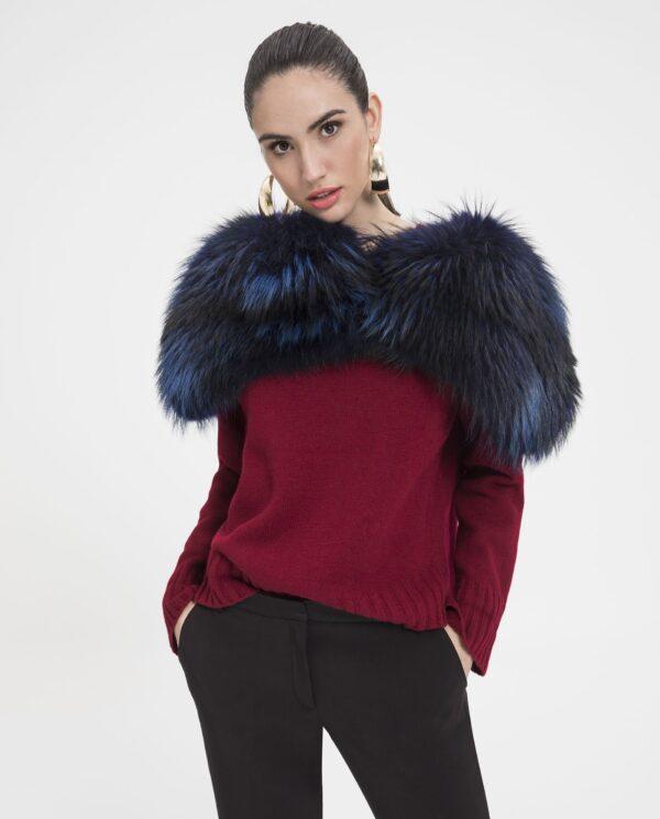 Estola de piel de finn racoon color azul marino para mujer marca Saint Germain