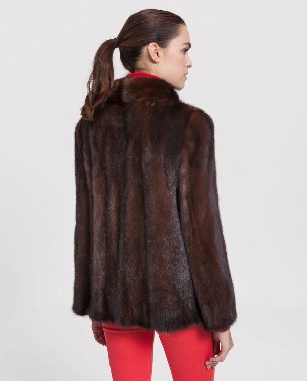 Chaquetón de mujer De la Roca de visón Saga marrón con cuello chimenea