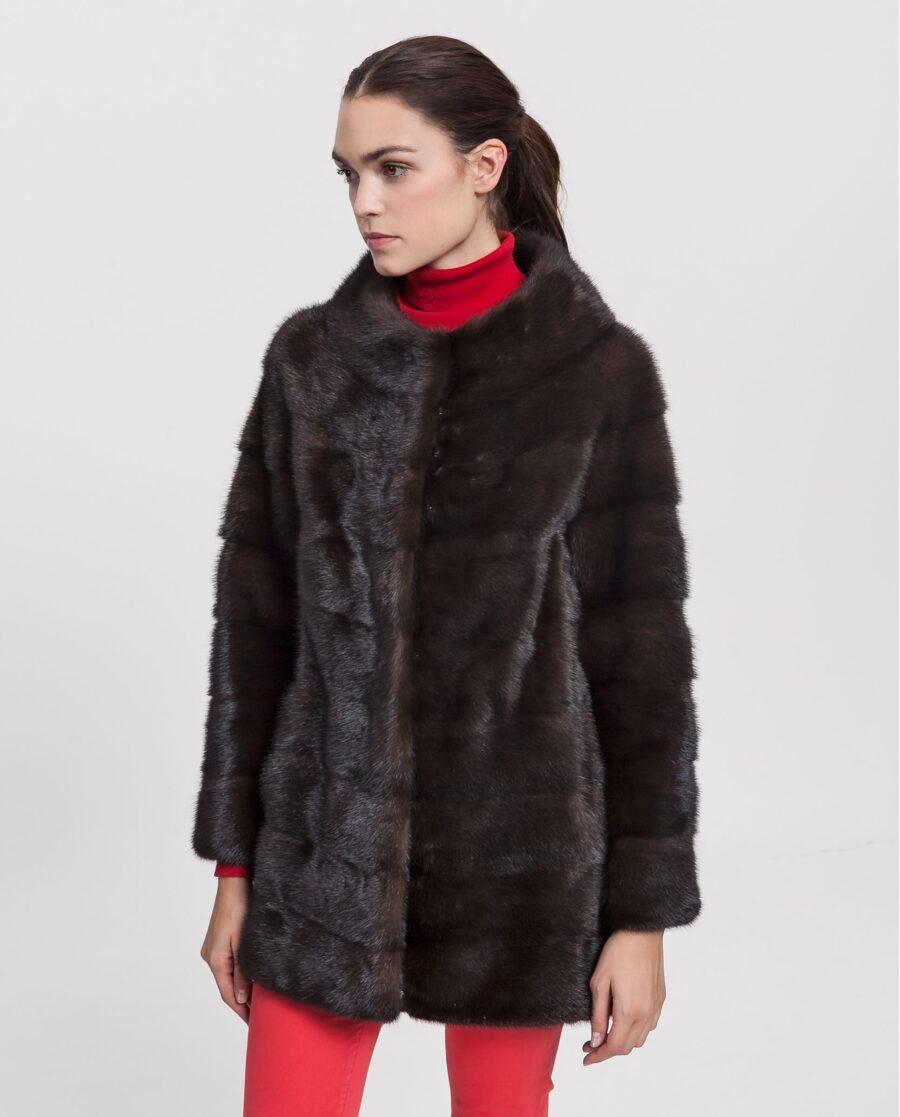 Abrigo de visón marrón con cuello de barco para mujer marca Saint Germain