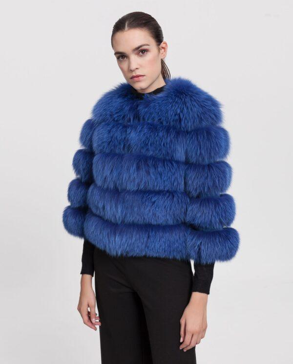 Chaqueta de zorro azul para mujer con lomos horizontales marca Marcelo Rinaldi