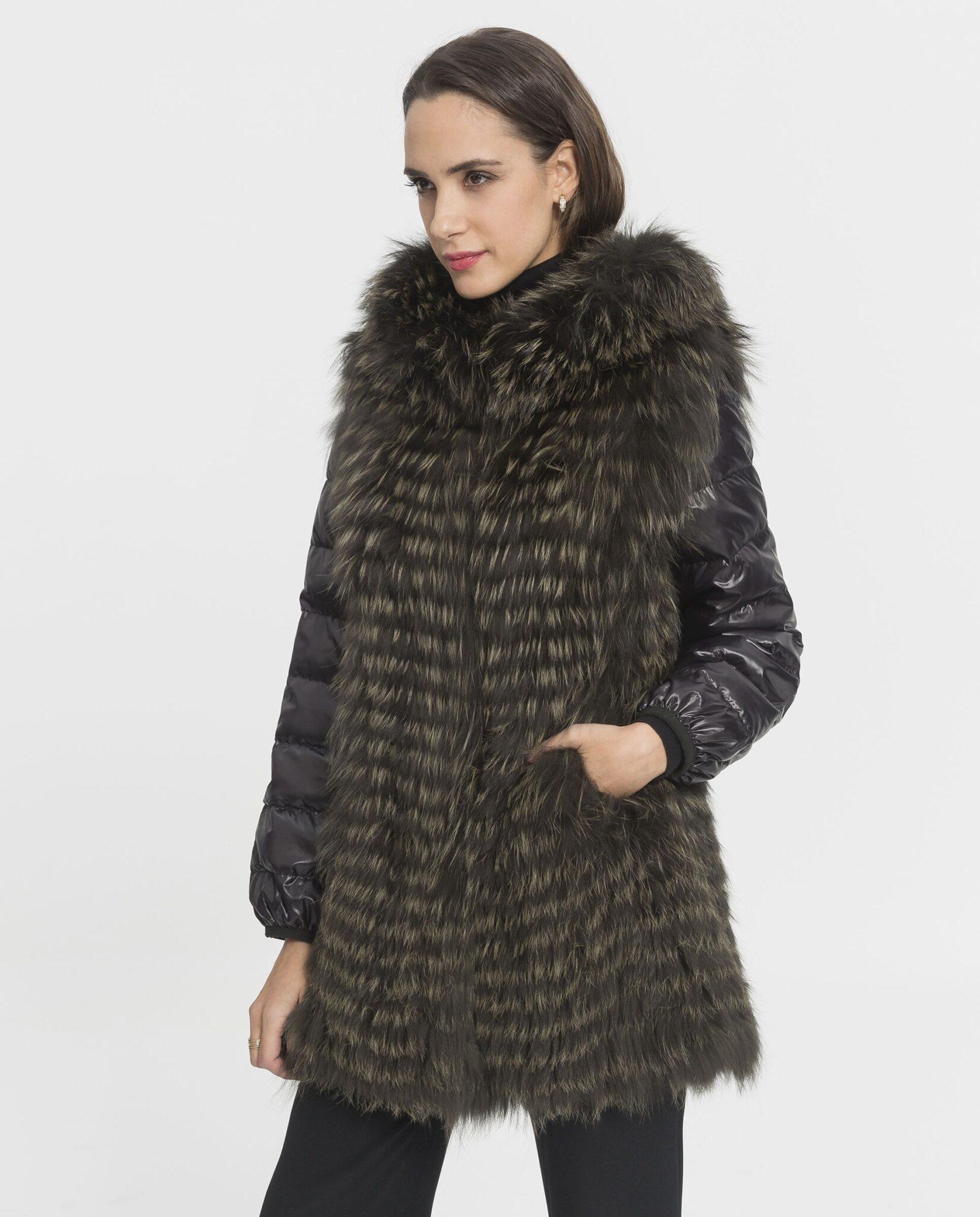 Abrigo de mujer De la Roca Saga de zorro verde con capucha