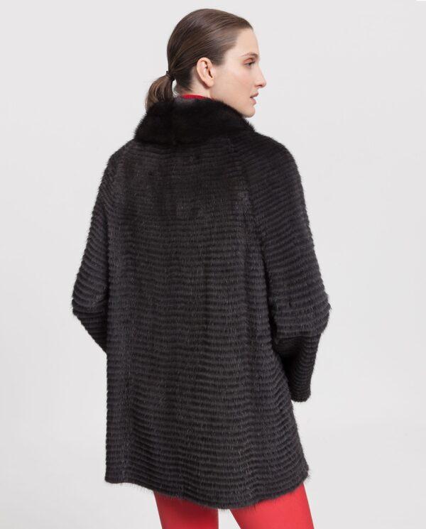 Abrigo de visón negro con cuello de barco para mujer marca Saint Germain