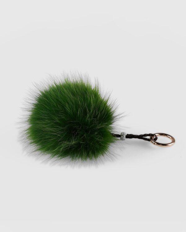 Llavero pompón verde de pelo de zorro para mujer marca Swarz