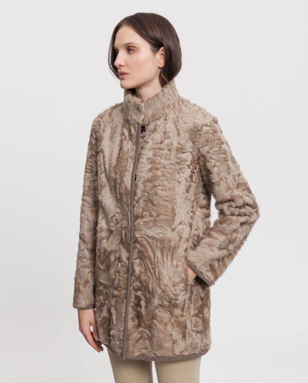 Abrigo de mujer Saint Germain de piel de cordero reversible camel