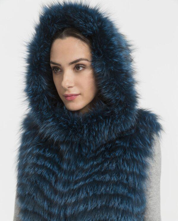 Chaleco largo de pelo de zorro azul marca Marcelo Rinaldi