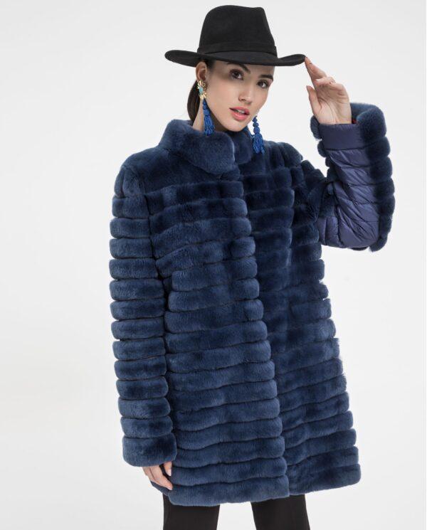 Abrigo de pelo de rex color azul marca Saint Germain